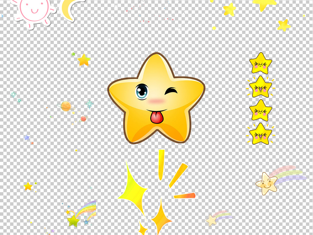 卡通可爱月亮星星装饰点缀png免抠素材