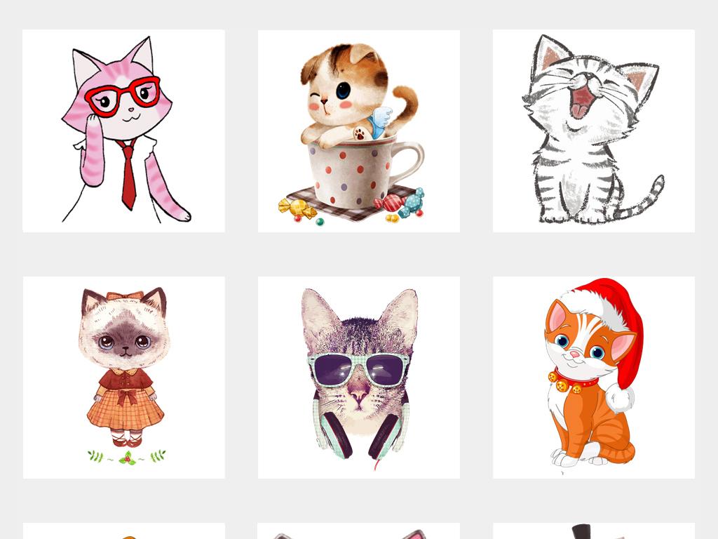 原创可爱卡通手绘灰色小猫咪免抠图片素材