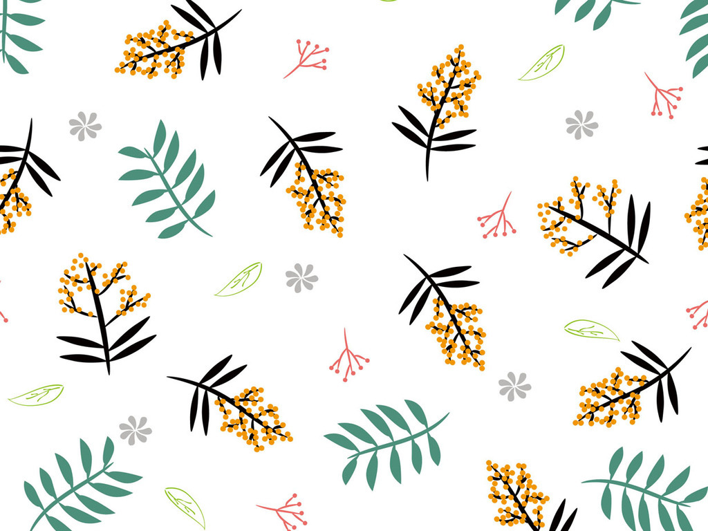 手绘小清新绿叶植物无缝背景图案