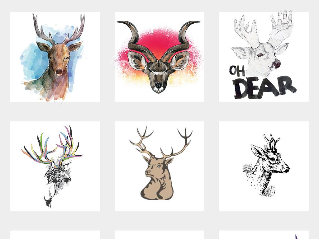 动物手绘卡通驯鹿鹿图片卡通鹿圣诞鹿卡通小鹿卡通驯鹿森林麋鹿剪影麋