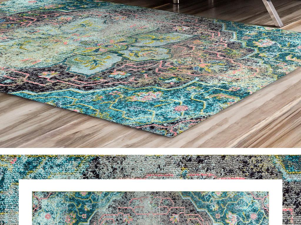 清新手绘地毯背景图案床边地毯欧式北欧