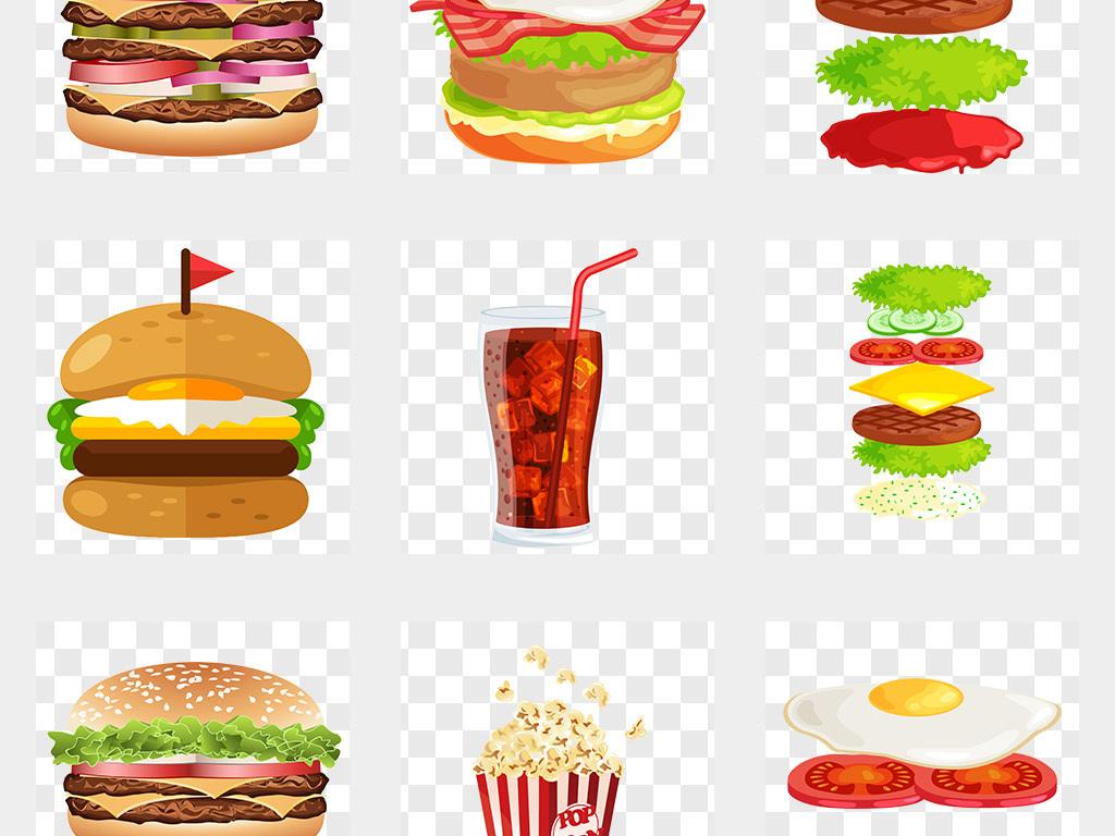 手绘麦当劳肯德基汉堡插图png免抠素材