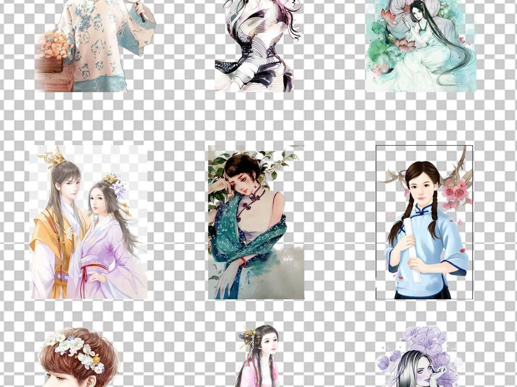 中国风手绘古典美女言情小说封面人物png免扣素材