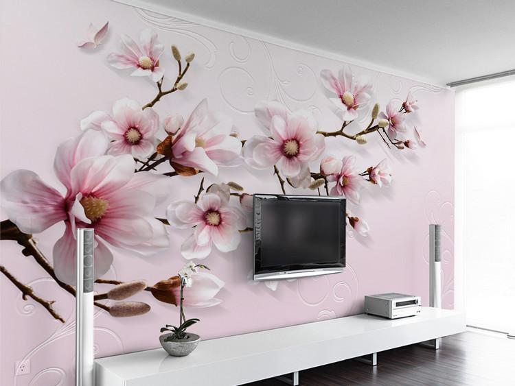 现代简约手绘3D百合花粉色背景墙