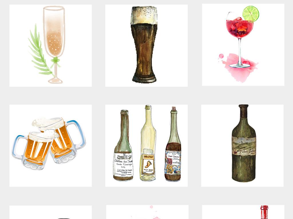 可爱创意手绘酒瓶水彩酒杯广告海报png免扣素材