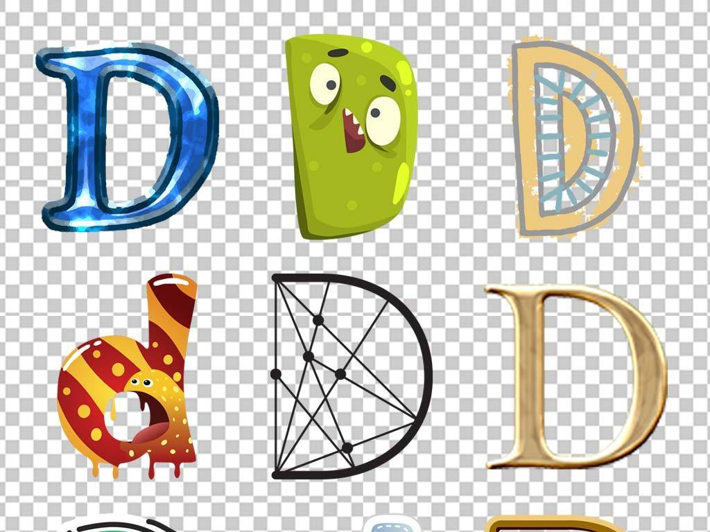 创意英文字母表情设计艺术字