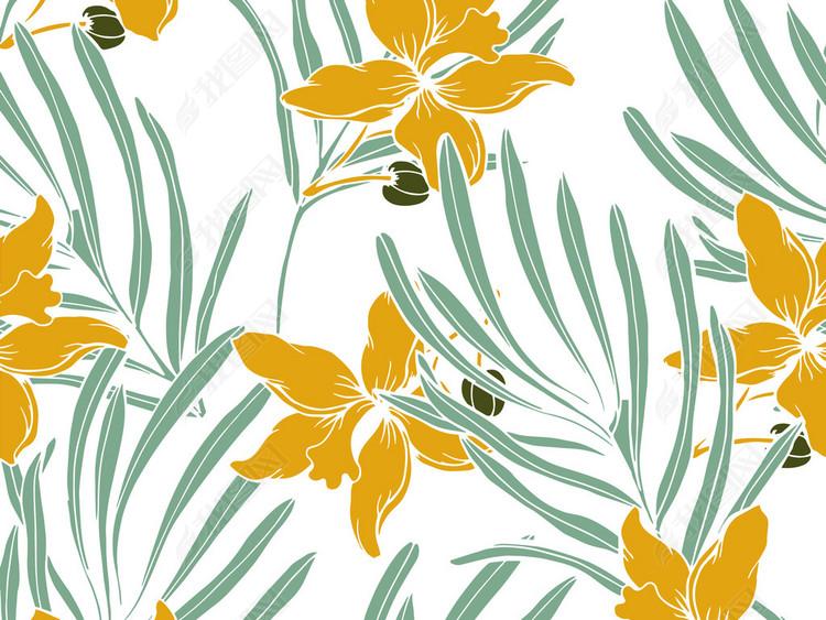 热带植物花卉叶子无缝图案