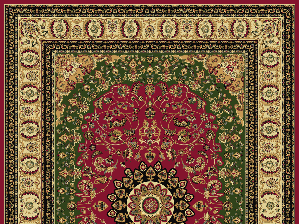 欧式复古手绘边框高档地毯背景图案