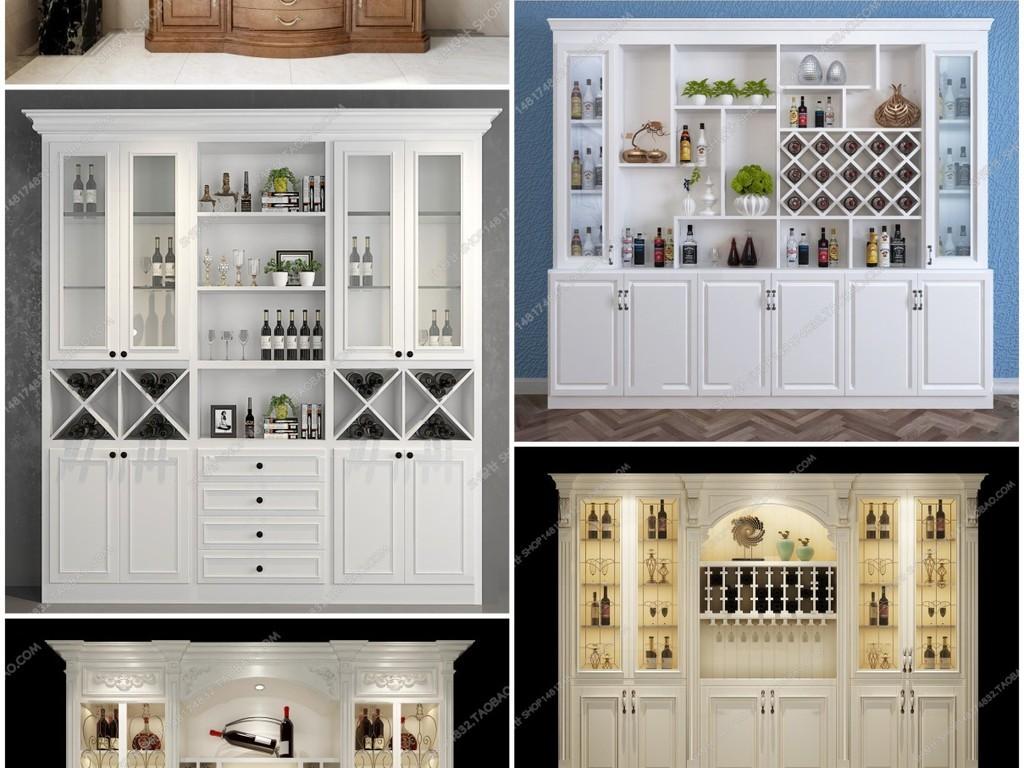 欧式法式美式酒柜书柜鞋柜整木定制图片