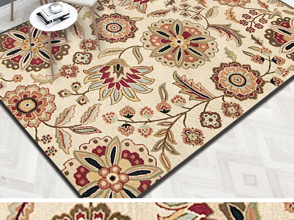 北欧复古简约花卉花朵手绘地毯背景