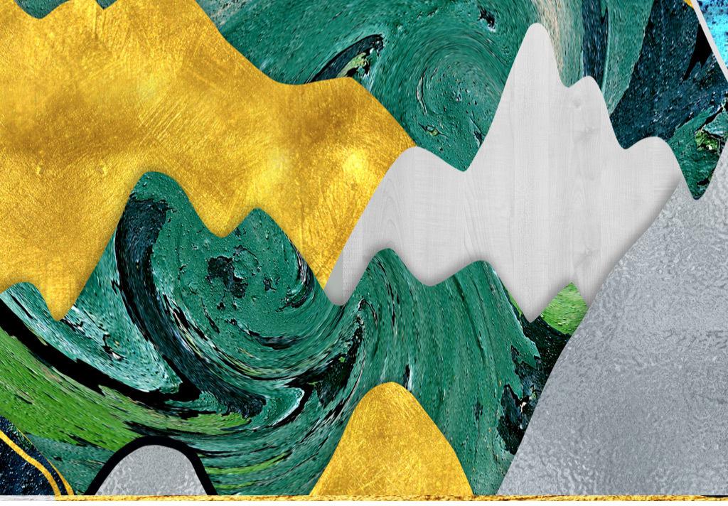 新中式抽象山水木板金色飞鸟北欧装饰画图片