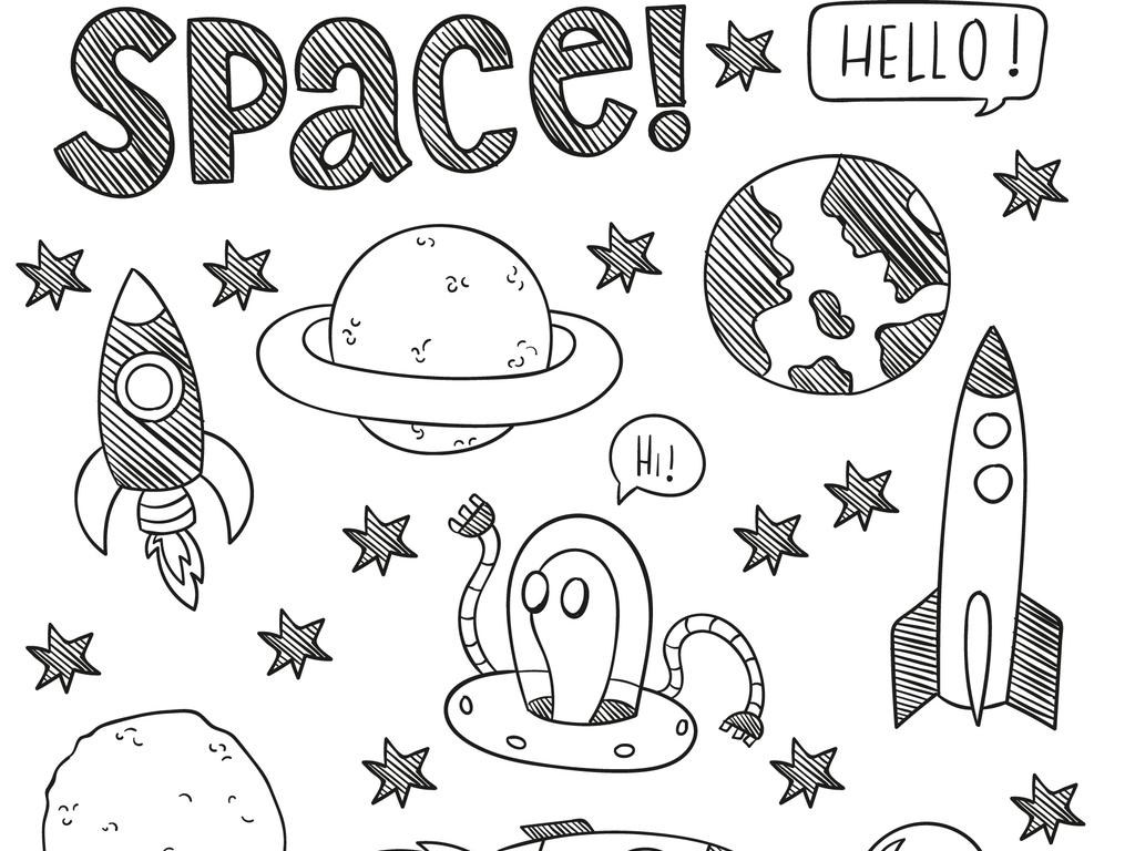 2018可爱卡通手绘太空探险插画矢量素材