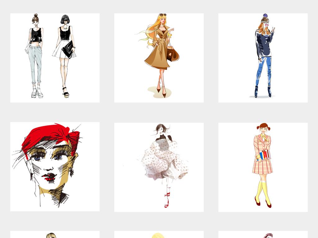 可爱手绘时尚女孩线描水彩美女插画背景png免扣素材