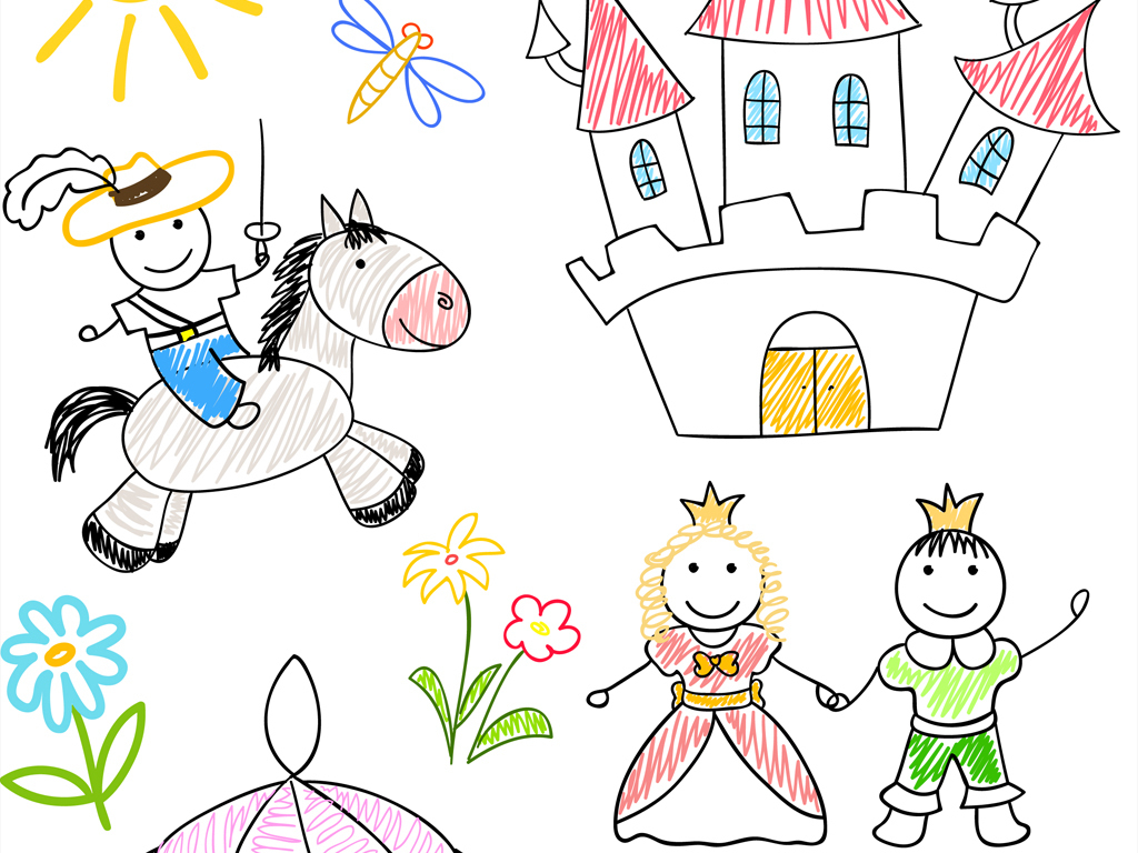 原创8eps儿童简笔画手绘涂鸦元素矢量素材