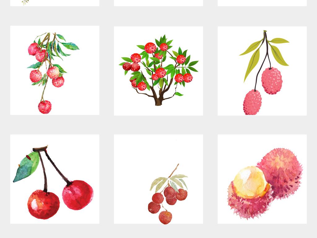 可爱手绘水彩荔枝水果海报设计png免扣素材