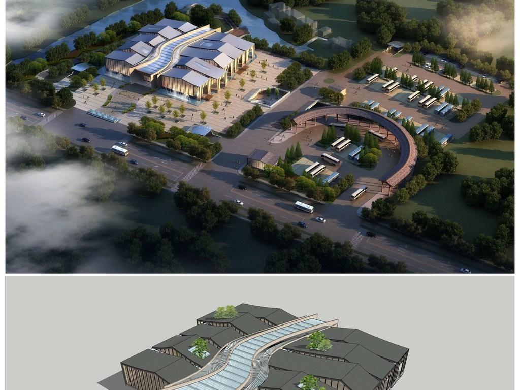 精品现代游客服务中心集散中心su模型及效果图设计图图片