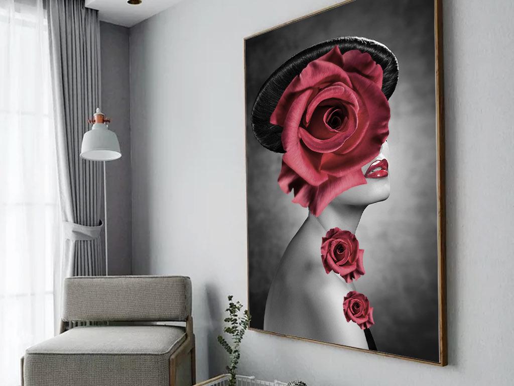 北欧简约现代创意美女红色玫瑰花装饰画图片
