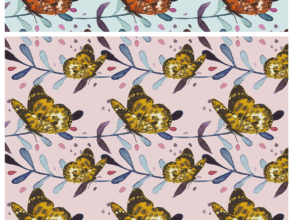 小清新植物蝴蝶图案四方连续印花图