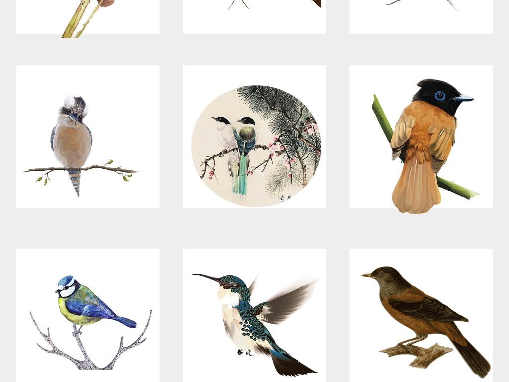 中国风手绘峰鸟古典素雅古风手绘水彩鸟png免抠素材