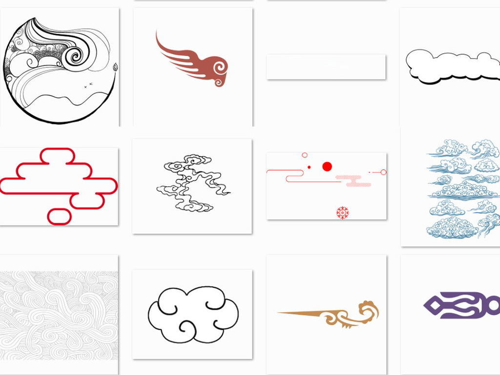 中国风简笔手绘线条云纹祥云背景png素材
