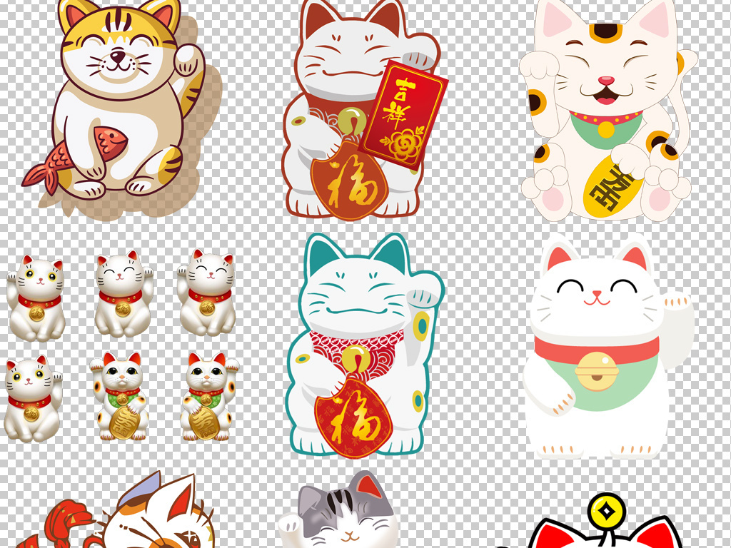 原创卡通可爱手绘日式招财猫咪图片png素材