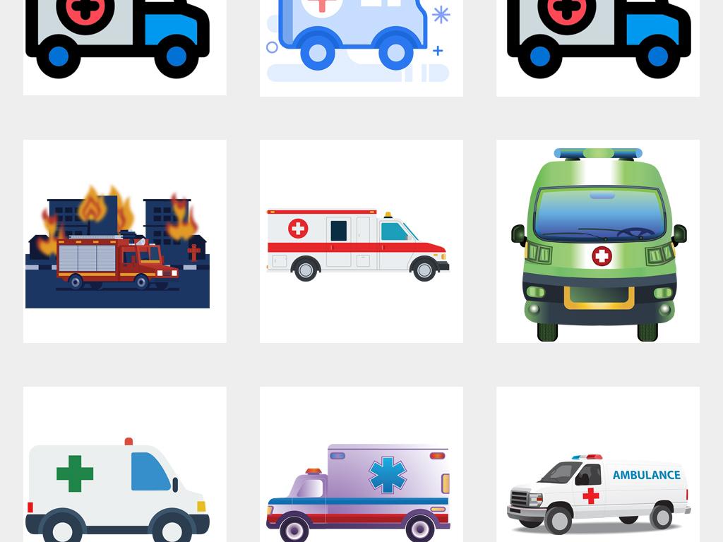 卡通医院救护车png免扣素材图片