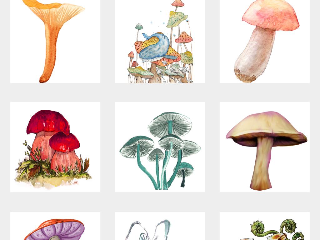 可爱卡通手绘蘑菇水彩蘑菇海报设计png免扣素材