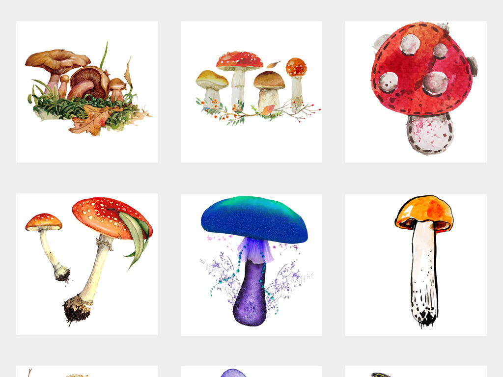 可爱手绘蘑菇水彩蘑菇海报设计png免扣素材