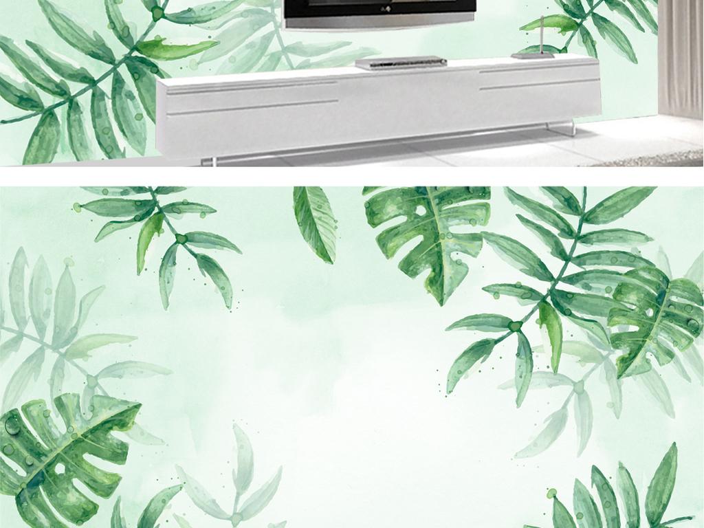 北欧风手绘植物电视背景墙下载