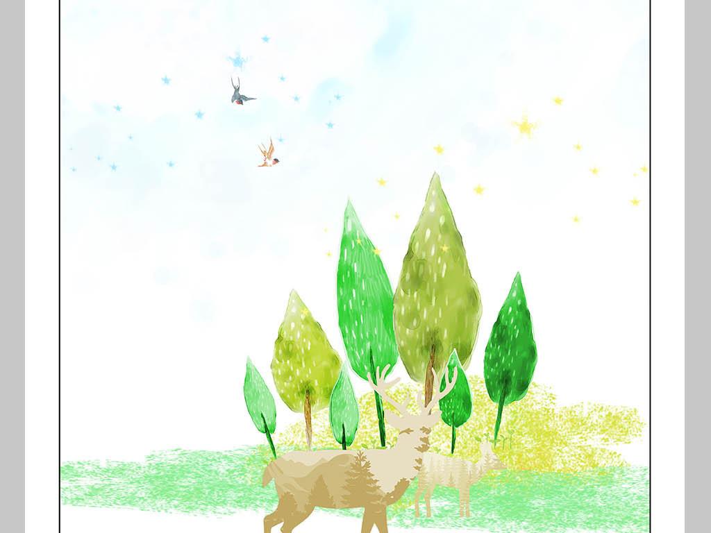 北欧风抽象手绘树丛麋鹿装饰画