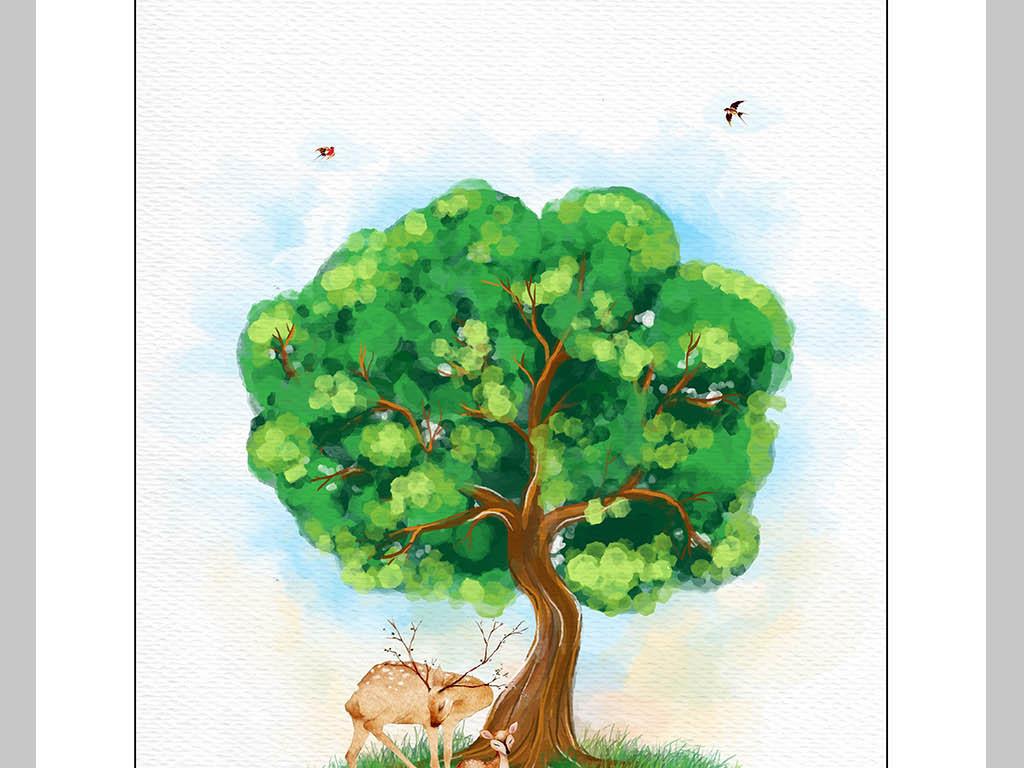 北欧风简约手绘水彩大树下的麋鹿装饰画图片设计素材