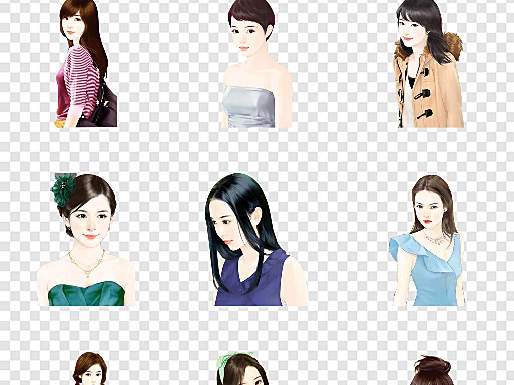 设计元素 人物形象 美女 > 美女图片手绘现代美女优雅现代女性