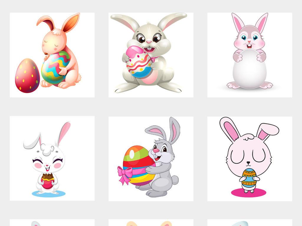 设计元素 自然素材 动物 > 卡通可爱主题手绘小兔抱彩蛋彩蛋png免扣素图片
