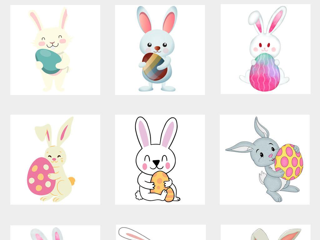 设计元素 自然素材 动物 > 卡通可爱主题手绘小兔抱彩蛋彩蛋png免扣图片