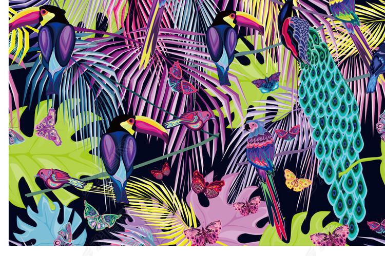 热带动物植物图案2018春夏女装印花热带花鸟