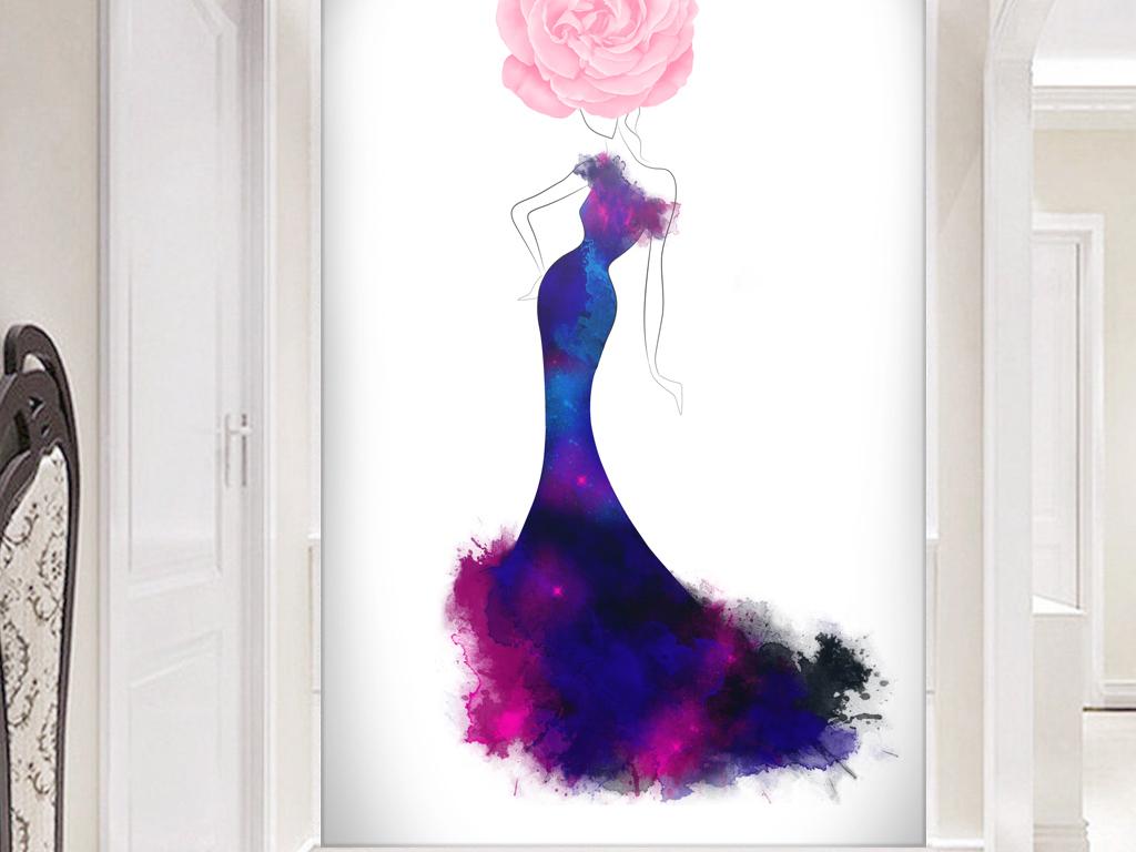 抽象美女手绘花卉花朵性感玄关装饰画