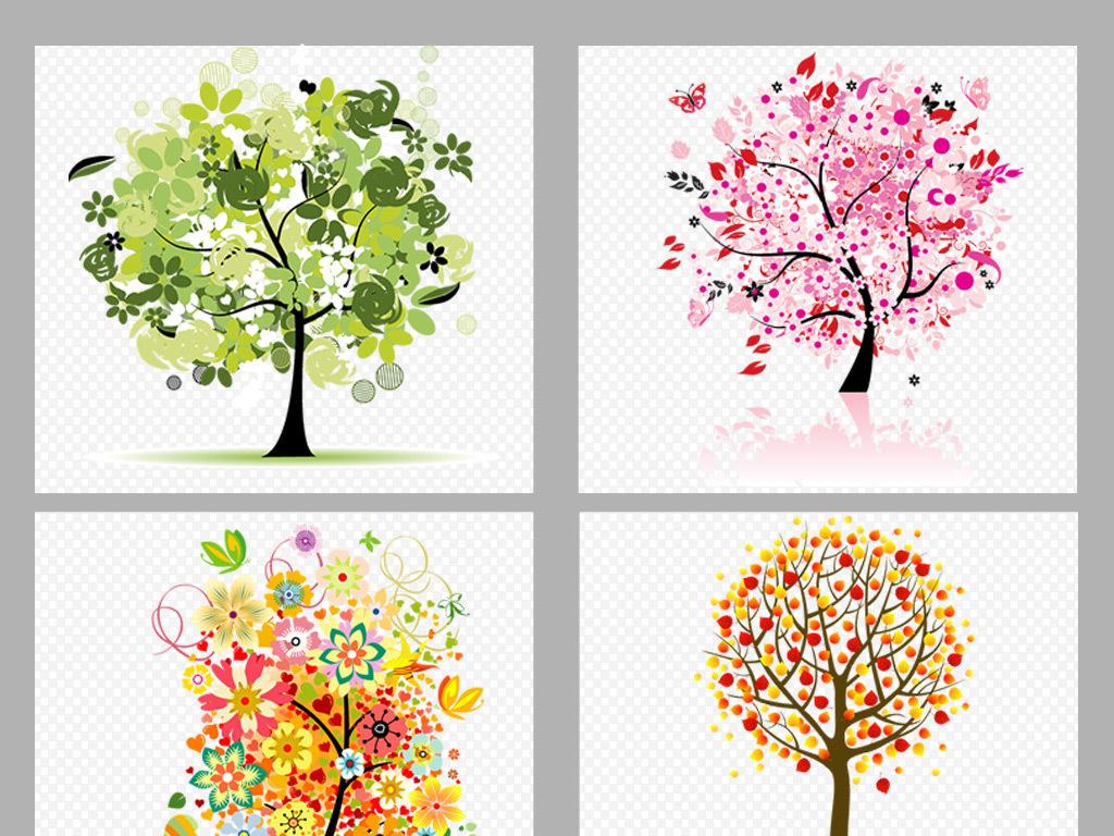 50款唯美手绘水彩花树png素材