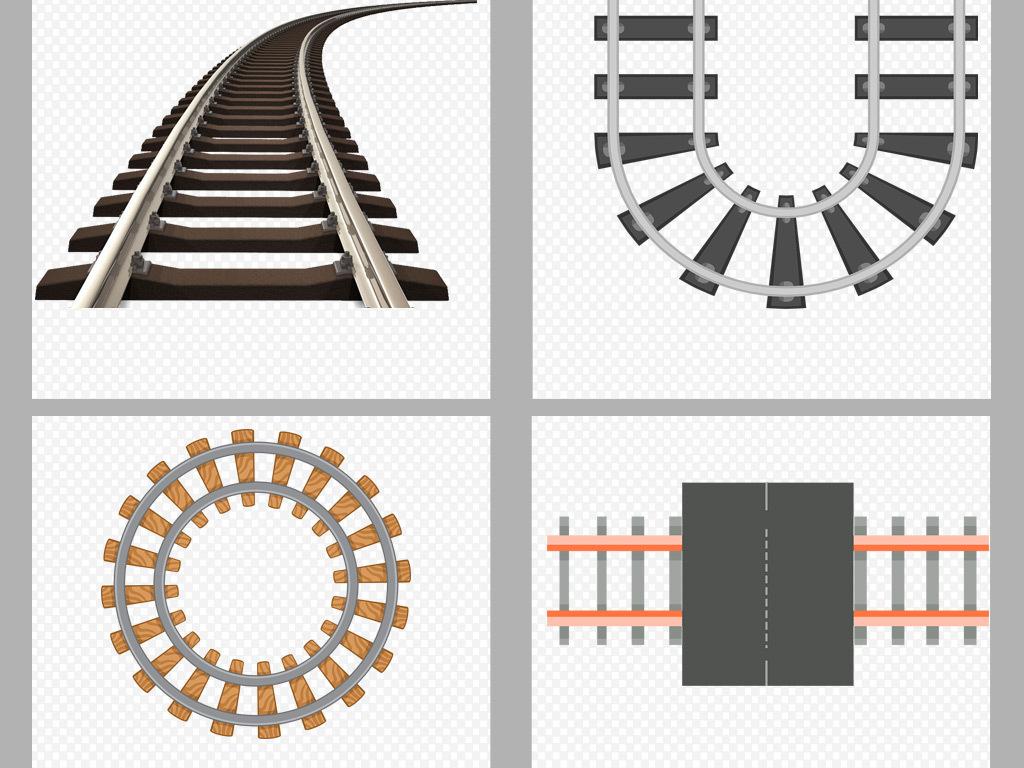 50款卡通手绘铁路轨道插画png背景素材