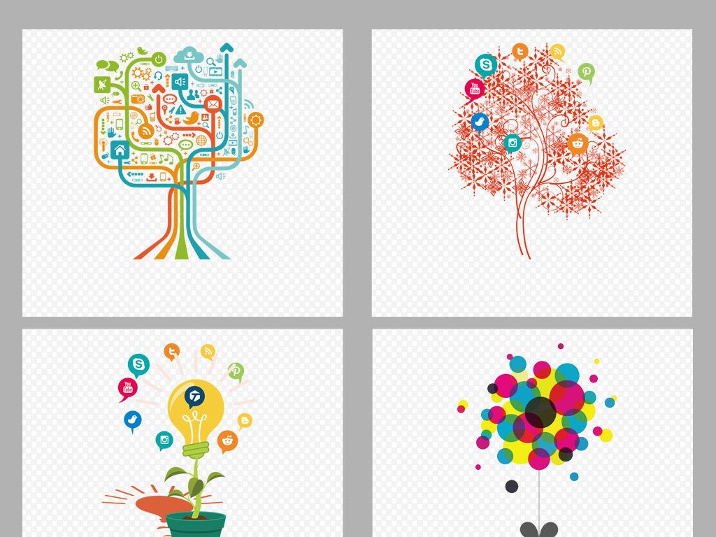 手绘水彩科技树ppt树结构png素材