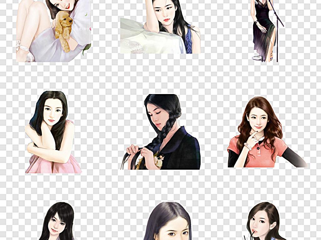 卡通人物美人现代手绘美女东方美女