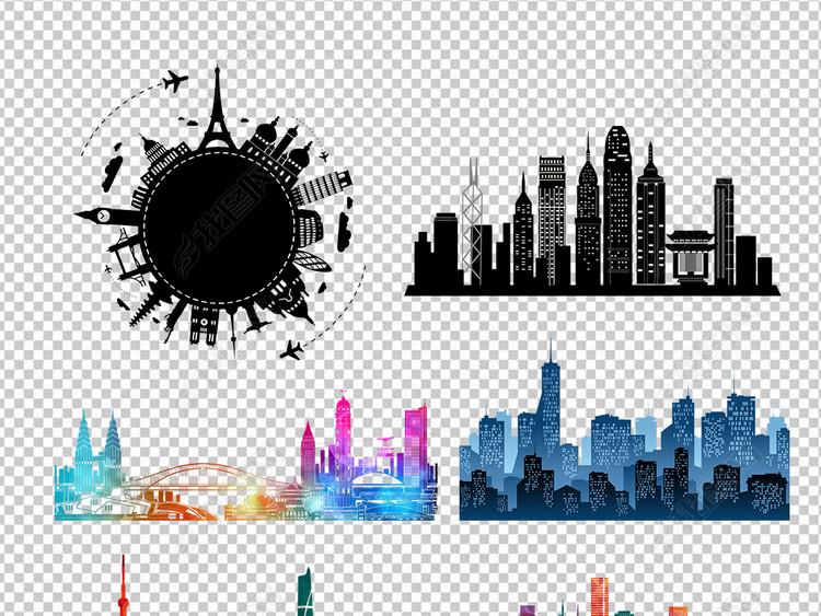 城市都市建筑建筑速写房子剪影背景素材