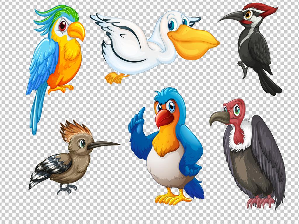 卡通小鸟水彩手绘鸟类小鸟麻雀png素材