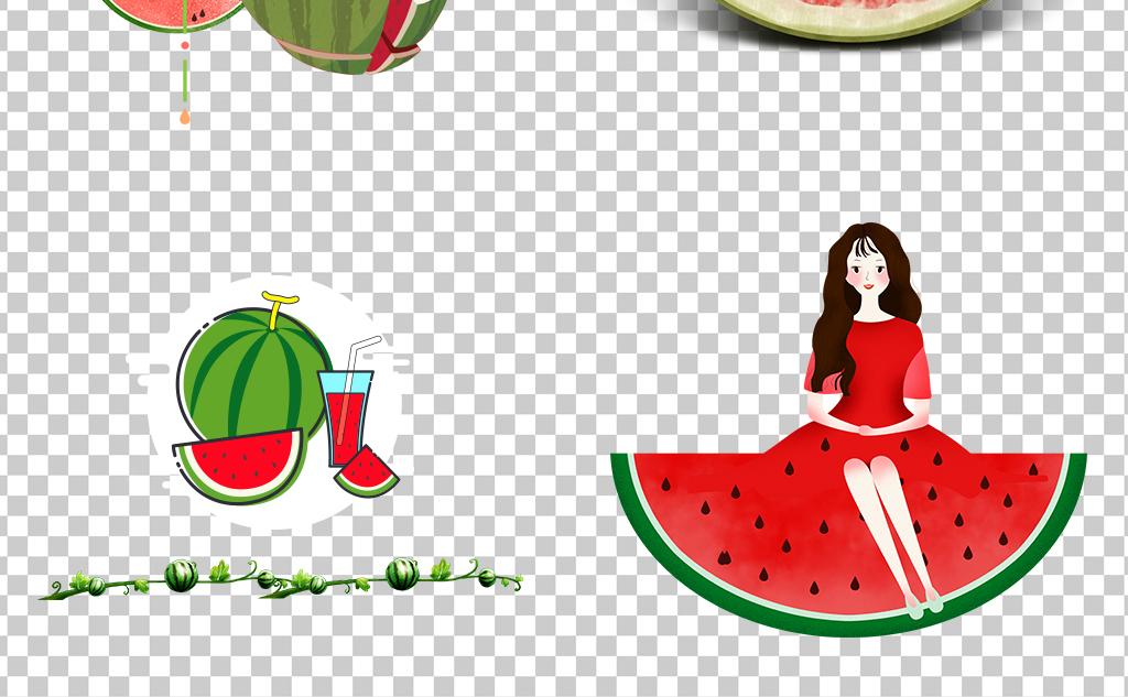 0457西瓜美少女卡通手绘西瓜夏天解暑必备西瓜汁素材免抠
