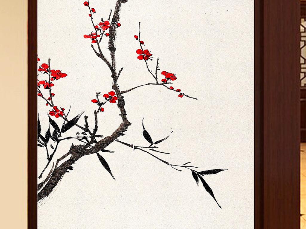 中国画名画水墨红梅梅花简约中式玄关画