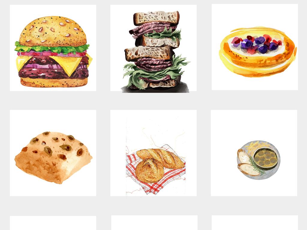 手绘水彩面包汉堡三明治披萨西餐西点甜点png免扣素材