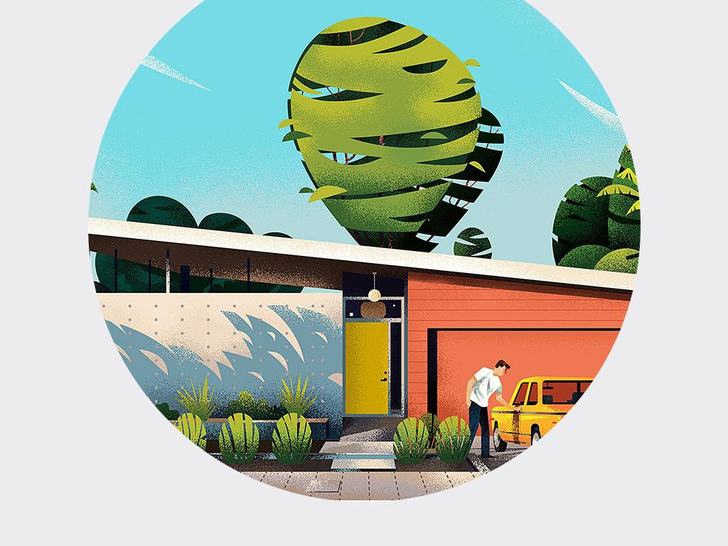 北欧ins风建筑手绘插画风景三联装饰画图片设计素材