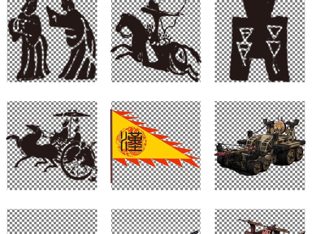 武器旗帜镖旗出征士兵打仗卡通古代