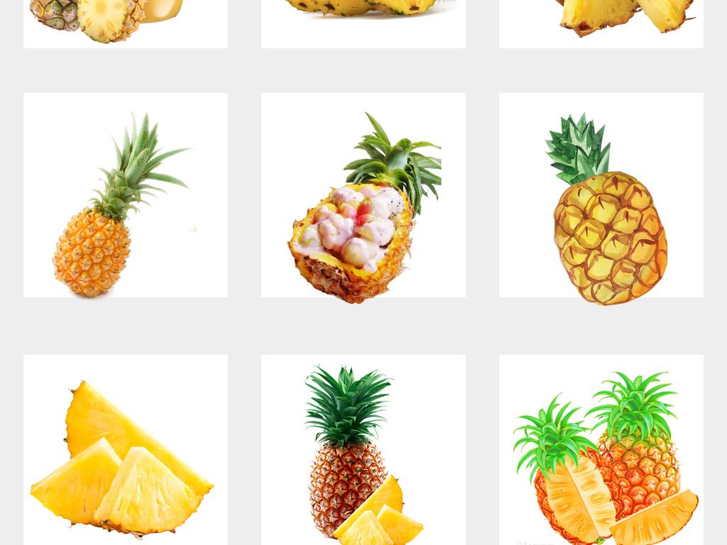 新鲜实物手绘菠萝海报设计png免扣素材