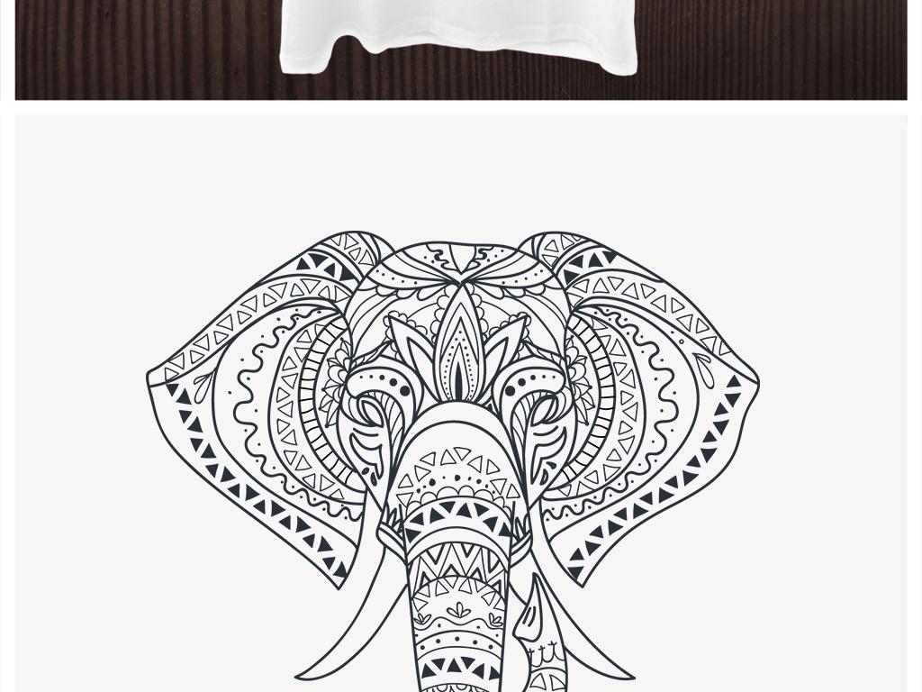 手绘线描大象t恤卫衣印花