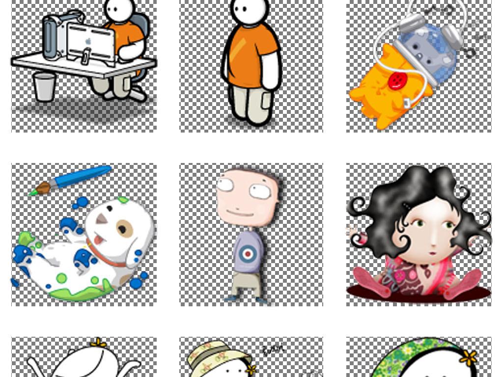 手绘线条卡通儿童人物pnt透明背景素材